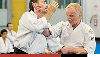 teacher demonstrates aikido